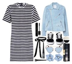 """""""Striped Dress"""" by princess13inred ❤ liked on Polyvore featuring T By Alexander Wang, MANGO, Christian Dior, John Lewis, Giorgio Armani and Lancôme"""