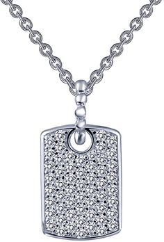 Lafonn Rfg Platinum Plated Silver Simulated Diamond Necklace Silver Chain Necklace, Dog Tag Necklace, Silver Plate, Product Launch, Boutique, Diamond, Jewelry, Silverware Tray, Jewels