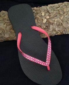 fdacc46c18310d Pink Crystal Flip Flops Flat Brazilian Cariris Slim Neon Rose Black Custom  w  Swarovski Rhinestone Jewel Beach Reception Wedding Ladies Shoe