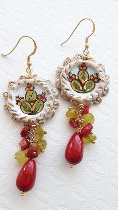 Pendant Earrings, Silver Earrings, Drop Earrings, Diy Jewelry, Beaded Jewelry, Cactus, Jade Stone, Sparkles Glitter, Sicily