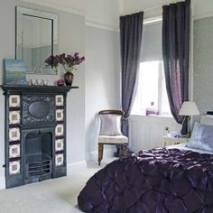 Want purple bedroom ideas? From warming heather to fresh lilac, learn how to decorate your bedroom in feel-good purple with our inspiring ideas Purple Bedspread, Blue Drapes, Music Bedroom, Bedroom Decor, Bedroom Ideas, Bedroom Designs, Master Bedroom, Purple Bedrooms, Guest Bedrooms