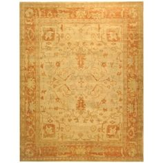Shop for Safavieh Hand-knotted Oushak Ivory/ Rust Wool Rug (9' x 12'). Get free shipping at Overstock.com - Your Online Home Decor Outlet Store! Get 5% in rewards with Club O! - 15606227