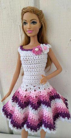 Crochet Dolls Clothes Barbie clothes Barbie Crochet Dress for Barbie Doll Barbie Clothes Patterns, Crochet Barbie Clothes, Doll Clothes Barbie, Clothing Patterns, Barbie Doll, Crochet Dolls, Handmade Dresses, Handmade Clothes, Dress Barbie