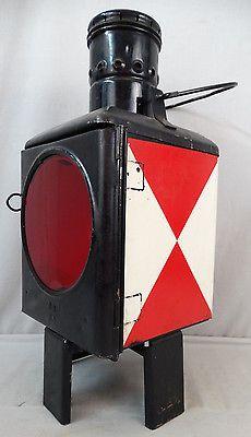 Antique-GERMAN-RAILROAD-Kosmos-Brenner-RED-CLEAR-Lens-OIL-LANTERN-Old-LAMP