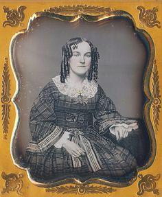 "Ohio gal taken April 81858. Also written was ""A.L. Estill to Miss M. F. Thompson April 81858."" 6th plate daguerreotype via Dennis A. Waters Fine Daguerreotypes"