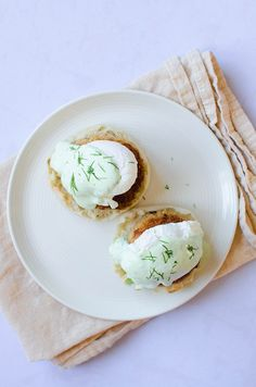 Crab Cakes Benedict with Wasabi Dill Sauce | Sprig and Flours