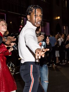 From the Front Row to the Runway: Fun-Filled Photos From New York Fashion Week Asap Rocky Fashion, Lord Pretty Flacko, A$ap Rocky, Mens Braids, Tyler The Creator, American Rappers, Celebrity Dads, Celebs, Celebrities