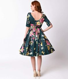 Vintage Deep Green Seville Floral Half Sleeve Hepburn Swing Dress