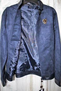 Faux Blue Suede Men's Bomber Jacket, Size Medium, New with tags, A Collezioni.