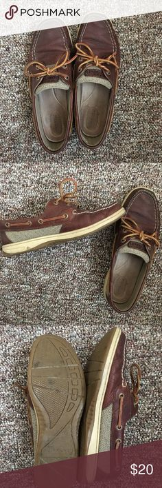 Sperry leather brown boat shoes Sperry leather brown boat shoes. Leather ties around side. Gently used but still in great condition! Comfortable. Sperry Top-Sider Shoes