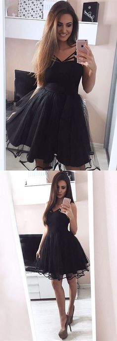 black homecoming dresses,tulle homecoming dresses,black party dress,short dresses