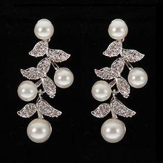 4a93e1ef8bf78 [$12.99] Women's Clear Pearl Drop Earrings Earrings Jewelry Silver For 1pc