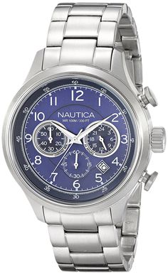 Nautica Men's N19630G NCT 16 Analog Display Japanese Quartz Silver Watch *** Click image for more details.