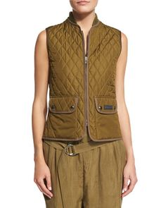 Quilted Zip-Front Vest, Olive by Belstaff at Neiman Marcus.
