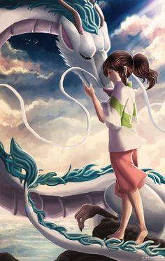 Spirited Away- Chihiro and Haku in his dragon form