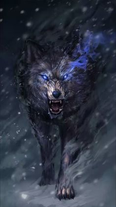 Warrior of the night einsamer wolf, dire wolf, demon wolf, beautiful wolves, Anime Wolf, Dark Fantasy Art, Fantasy Wolf, Fantasy Creatures, Mythical Creatures, Fenrir Tattoo, Snow Wolf, Wolf Artwork, Wolf Wallpaper