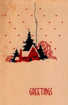 Vintage Christmas Card Art Deco Cottage Trees Smoke Winter Scene 1930 s