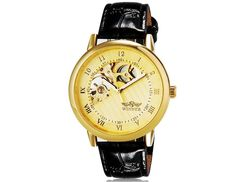 Fashion Unisex Faux Leather Band Semi-circle Design Automatic Mechanical Waterproof Wrist Watch $26.74 #eozy