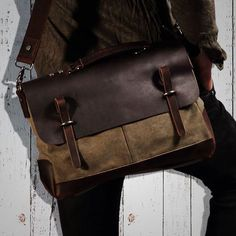 Vintage Style Canvas Leather ringed Over-flap Briefcase Messenger Bag with Brass Accents