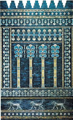 Brilliantly coloured glazed brick decoration, facade of the throne room, palace of Nebuchadrezzar II, Babylon, c. 600 bc.  Photo: EB Inc. with permission of the Staatliche Museum zu Berlin