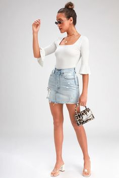 Cute White Top - Flounce Sleeve Top - Square Neck Top - Lulus Cute White Tops, Square Neck Top, Sexy Blouse, Summer Blouses, Denim Skirt, Robin, Mini Skirts, Sleeves, Geometric Fashion