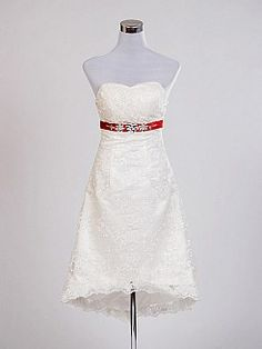 Ivory Strapless Lace over Satin Hi Lo A Line Wedding Dress - USD $99.00