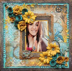 Lisa Gregory created this fabulous mixed media layout using the Somewhere in Time collection. Love all the different techniques she used. #BoBunny, #layouts @starsailor