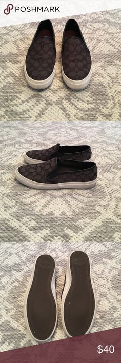 COACH Slip On Sneakers COACH Black Slip On Sneakers. Black on Black Signature Design. Size 7.5. Moderately Worn Coach Shoes Sneakers