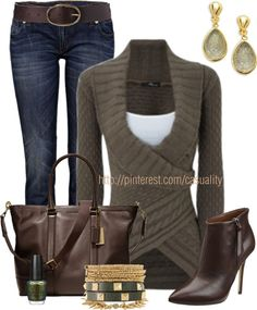 """Knit Wrap Sweater & Coach Brown Leather Tote Bag"" by casuality on Polyvore"