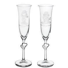 Minnie and Mickey Mouse Glass Flute Set by Arribas - Personalizable | Disney Store