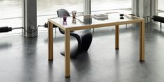 bureau made from larch tree with glas plate and dark smoked oak feet, by alvari