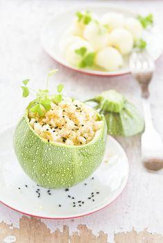 Very yummy looking Stuffed Zucchini.