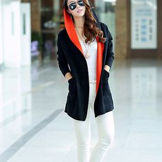 Fashion Contrast Color Hooded Long Sleeve Knitting Cardigan
