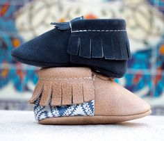 Boho Indigo Collection from Freshly Picked | Genuine Leather, Dark Navy Blue Moccasins, Brown Toddler Shoes, Patterns and Suede