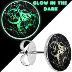Glow in the Dark Steampunk Gears Stud Earrings #bodycandy #glow #steampunk $8.99