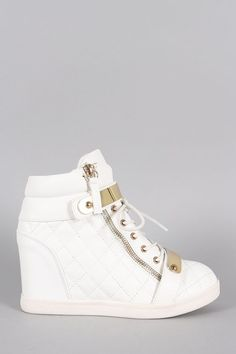 Quilted High Top Wedge Sneaker:
