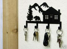 Bear Cabin Key Holder Woodland Metal Art Lodge Decor   eBay