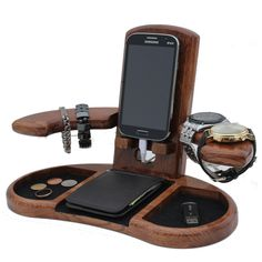Wooden Docking Station Unique holiday gift Christmas New Year Birthday Gift for Men husband wife Anniversary Gift Fathers Day Gift for dads Great Gifts For Men, Gifts For Husband, Docking Station, Police Officer Gifts, Wooden Organizer, Small Wood Projects, Creative Workshop, Woodworking Projects Diy, Woodworking Tools