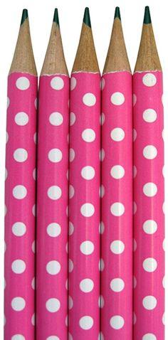 Hot Pink Polka Dot Pencils ~ Cute!