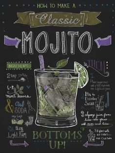 """Chalkboard Art - """"Mojito"""" wall art by Fiona Stokes-Gilbert available at Great BIG Canvas. Party Drinks, Cocktail Drinks, Cocktail Recipes, Alcoholic Drinks, Vodka Cocktails, Beverages, Mojito Ingredients, Alcohol Recipes, Shake Recipes"""