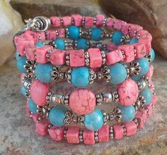 Check out this item in my Etsy shop https://www.etsy.com/listing/537743587/pink-turquoise-memory-wire-bracelet