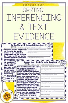Spring into this inferencing and text evidence activity!