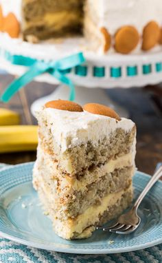 Banana Pudding Cake:  A layer cake with all the flavor of Banana Pudding. Fresh bananas, Nilla wafers, and whipped topping give this cake  that wonderful down home nanner puddin flavor in a more sophisticated form!