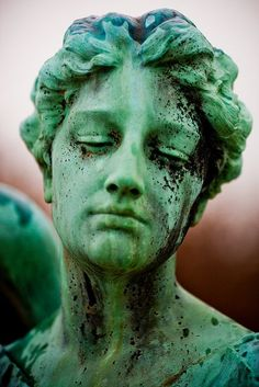 this can be an idea to make statues that are coloured perhaps. green coloured statue for a-level art? Cemetery Statues, Cemetery Art, Angel Statues, Buddha Statues, Cemetery Angels, Greek Statues, Slytherin Aesthetic, Foto Art, Photomontage