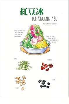 Behance : ice kacang abc - food illustration by ong siew guet Cute Food, Yummy Food, Nyonya Food, Dessert Illustration, Food Sketch, Watercolor Food, Watercolour, Singapore Food, Food Painting