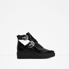 ZARA - WOMAN - LEATHER ANKLE BOOTS WITH BUCKLES