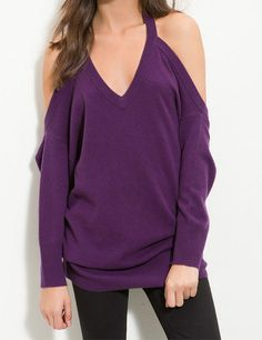 Leith Cashmere Halter Sweater Purple Grape Small NWT