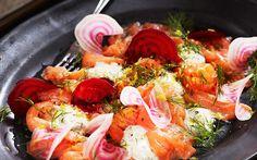 Graavilohi - Reseptit - Arla Easter Recipes, Easter Food, Bruschetta, Fish Recipes, Paella, Shrimp, Appetizers, Cooking, Ethnic Recipes