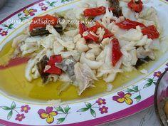 Cinco sentidos na cozinha: Bacalhau assado na brasa desfiado com pimento assado