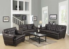 Acme Modern Brown Leather Sofa Couch Loveseat Chair Tufted Soft Living